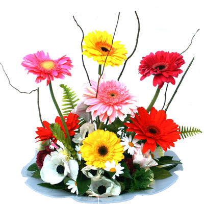 Adıyaman hediye çiçek yolla  camda gerbera ve mis kokulu kir çiçekleri