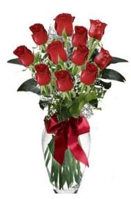11 adet kirmizi gül vazo mika vazo içinde  Adıyaman 14 şubat sevgililer günü çiçek