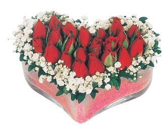 Adıyaman çiçekçi telefonları  mika kalpte kirmizi güller 9