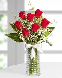 Cam vazoda 7 adet kırmızı gül  Adıyaman çiçek , çiçekçi , çiçekçilik