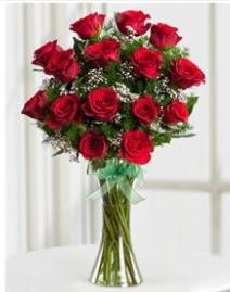 Cam vazo içerisinde 11 kırmızı gül vazosu  Adıyaman anneler günü çiçek yolla