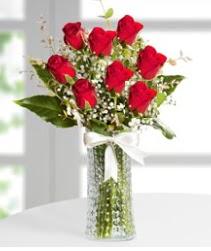 7 Adet vazoda kırmızı gül sevgiliye özel  Adıyaman çiçek siparişi sitesi