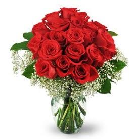 25 adet kırmızı gül cam vazoda  Adıyaman çiçek , çiçekçi , çiçekçilik