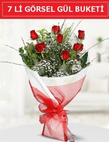 7 adet kırmızı gül buketi Aşk budur  Adıyaman çiçek satışı