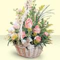 Adıyaman 14 şubat sevgililer günü çiçek  sepette pembe güller