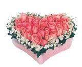 kalp içerisinde 9 adet pembe gül  Adıyaman çiçek satışı