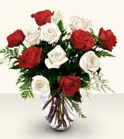 Adıyaman uluslararası çiçek gönderme  6 adet kirmizi 6 adet beyaz gül cam içerisinde