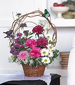 Adıyaman cicekciler , cicek siparisi  sepet içerisinde karanfil gerbera ve kir çiçekleri