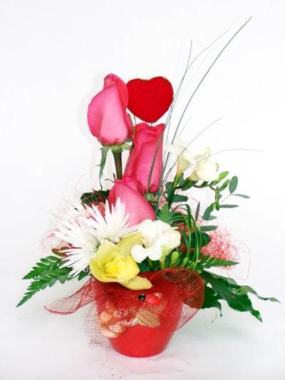 Adıyaman ucuz çiçek gönder  cam içerisinde 3 adet gül ve kir çiçekleri