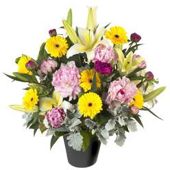 karisik mevsim çiçeklerinden vazo tanzimi  Adıyaman uluslararası çiçek gönderme