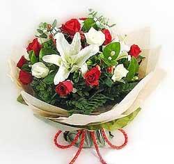 güller ve kazablanklardan görsel bir buket  Adıyaman internetten çiçek satışı