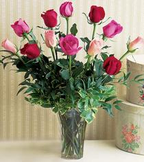 Adıyaman çiçek mağazası , çiçekçi adresleri  12 adet karisik renkte gül cam yada mika vazoda