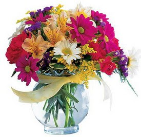 Adıyaman internetten çiçek satışı  cam yada mika içerisinde karisik mevsim çiçekleri