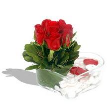 Mika kalp içerisinde 9 adet kirmizi gül  Adıyaman çiçek servisi , çiçekçi adresleri