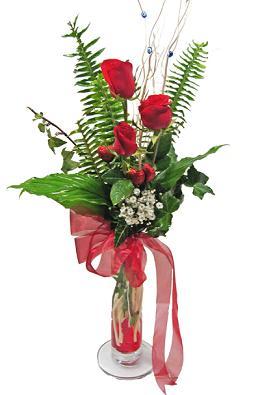 Çiçek gönderin cam vazoda 3 gül çiçekleri  Adıyaman çiçek siparişi sitesi