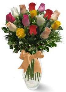 15 adet vazoda renkli gül  Adıyaman internetten çiçek satışı