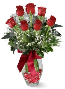 7 adet vazoda gül  Adıyaman internetten çiçek satışı  kirmizi gül
