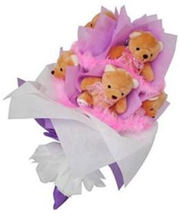 9 adet ayiciktan buket  Adıyaman hediye sevgilime hediye çiçek