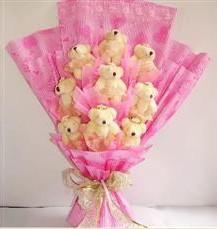 9 adet pelus ayicik buketi  Adıyaman anneler günü çiçek yolla