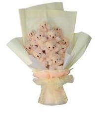 11 adet pelus ayicik buketi  Adıyaman ucuz çiçek gönder