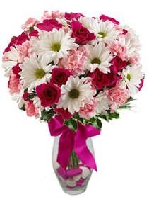 Adıyaman çiçek siparişi sitesi  Karisik mevsim kir çiçegi vazosu