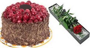 1 adet yas pasta ve 1 adet kutu gül  Adıyaman uluslararası çiçek gönderme