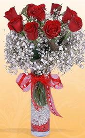 9 adet kirmizi gül cam yada mika vazoda  Adıyaman çiçek mağazası , çiçekçi adresleri
