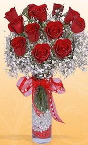 10 adet kirmizi gülden vazo tanzimi  Adıyaman çiçek siparişi sitesi