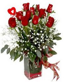 Adıyaman çiçek siparişi vermek  9 adet mika yada cam vazoda gül tanzimi kalp çubuk