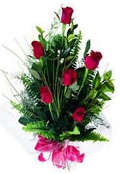 Adıyaman güvenli kaliteli hızlı çiçek  5 adet kirmizi gül buketi hediye ürünü