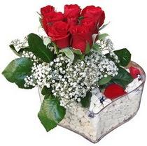 Adıyaman güvenli kaliteli hızlı çiçek  kalp mika içerisinde 7 adet kirmizi gül