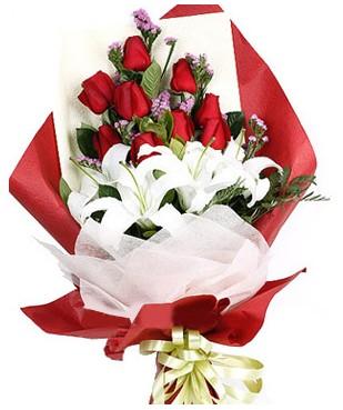 Adıyaman çiçekçiler  1 dal kazablankaa 9 adet kırmızı gül buketi