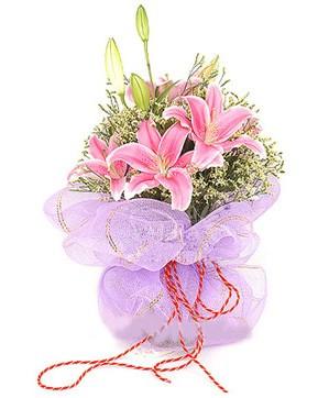 3 dal kazablanka görsel buketi  Adıyaman internetten çiçek satışı