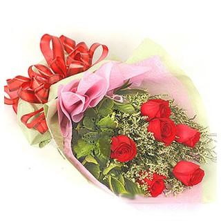 Adıyaman çiçek , çiçekçi , çiçekçilik  6 adet kırmızı gülden buket