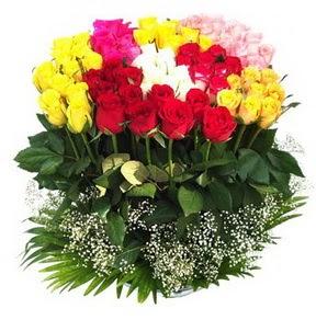 Adıyaman çiçek mağazası , çiçekçi adresleri  51 adet renkli güllerden aranjman tanzimi