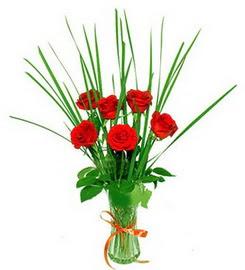 Adıyaman çiçek , çiçekçi , çiçekçilik  6 adet kırmızı güllerden vazo çiçeği