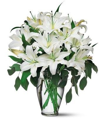 Adıyaman internetten çiçek satışı  4 dal kazablanka ile görsel vazo tanzimi