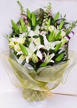 Adıyaman çiçek servisi , çiçekçi adresleri  3 adet kazablankalardan görsel buket çiçeği