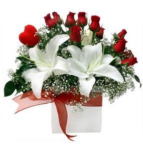 Adıyaman çiçekçi mağazası  1 dal kazablanka 11 adet kırmızı gül vazosu