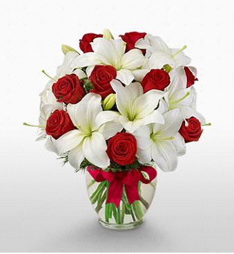 Adıyaman hediye çiçek yolla  1 dal kazablanka 11 adet kırmızı gül vazosu