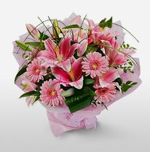 1 dal kazablanka ve kır çiçek görsel buketi  Adıyaman internetten çiçek satışı