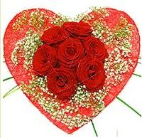 Mika kalp içerisinde 7 adet kırmızı gül  Adıyaman çiçekçi mağazası