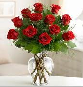 Vazo içerisinde 12 kırmızı gül  Adıyaman çiçek satışı