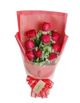 9 adet kırmızı gülden görsel buket  Adıyaman ucuz çiçek gönder