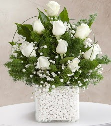 9 beyaz gül vazosu  Adıyaman çiçek satışı
