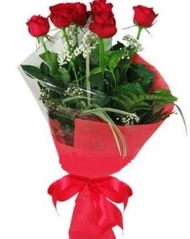 5 adet kırmızı gülden buket  Adıyaman kaliteli taze ve ucuz çiçekler