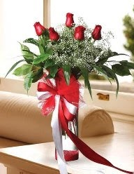 Camda 5 kırmızı gül tanzimi  Adıyaman çiçekçi telefonları