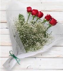 5 kırmızı gülden sade buket  Adıyaman çiçek yolla
