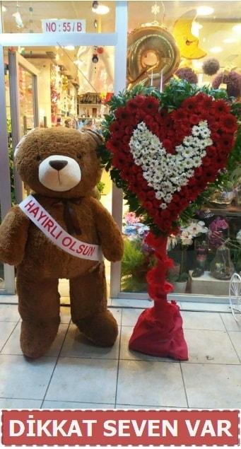 1.5 Metre peluş ayı ve Kalp  Adıyaman çiçek gönderme sitemiz güvenlidir
