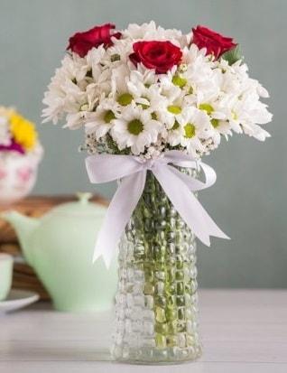 Papatya Ve Güllerin Uyumu camda  Adıyaman çiçek gönderme sitemiz güvenlidir